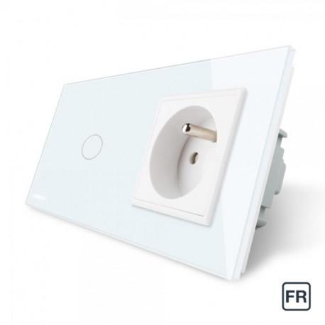 Ensemble interrupteur et prise électrique blanc