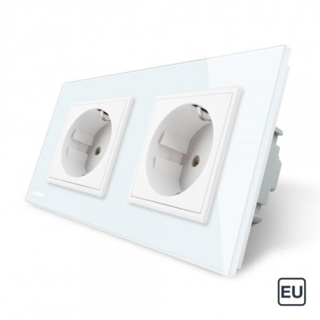 Double prise de courant EU 16A - Blanc