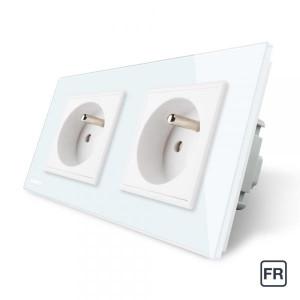 Double prise de courant FR 16A - Blanc