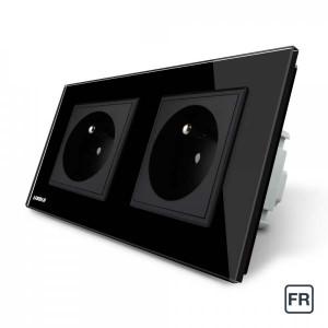 Double prise de courant FR 16A - Noir