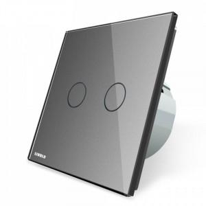 Interrupteur d'éclairage double gris