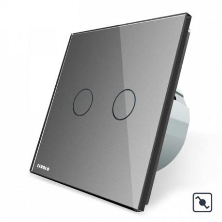 Télérupteur tactile double gris