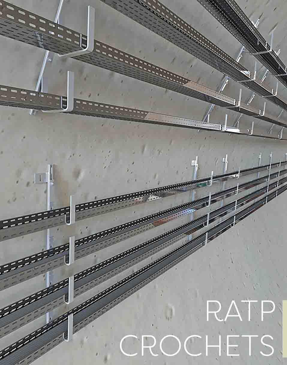 Support de câbles crochets pour fils électriques des métros et tunnels de la RATP